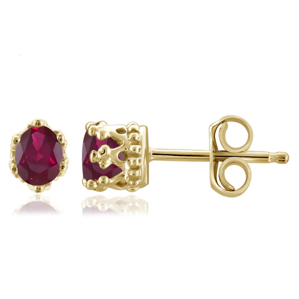 JewelonFire 0.33 Carat T.G.W Ruby Sterling Silver Crown Earrings - Assorted Colors