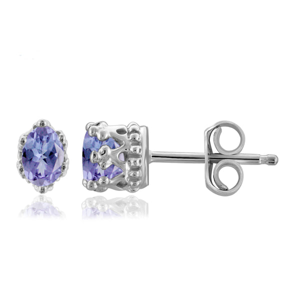 JewelonFire 0.45 Carat T.G.W. Tanzanite Sterling Silver Crown Earrings - Assorted Colors