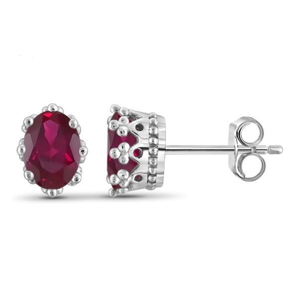 JewelonFire 1.75 Carat T.G.W. Ruby Sterling Silver Crown Earrings - Assorted Colors