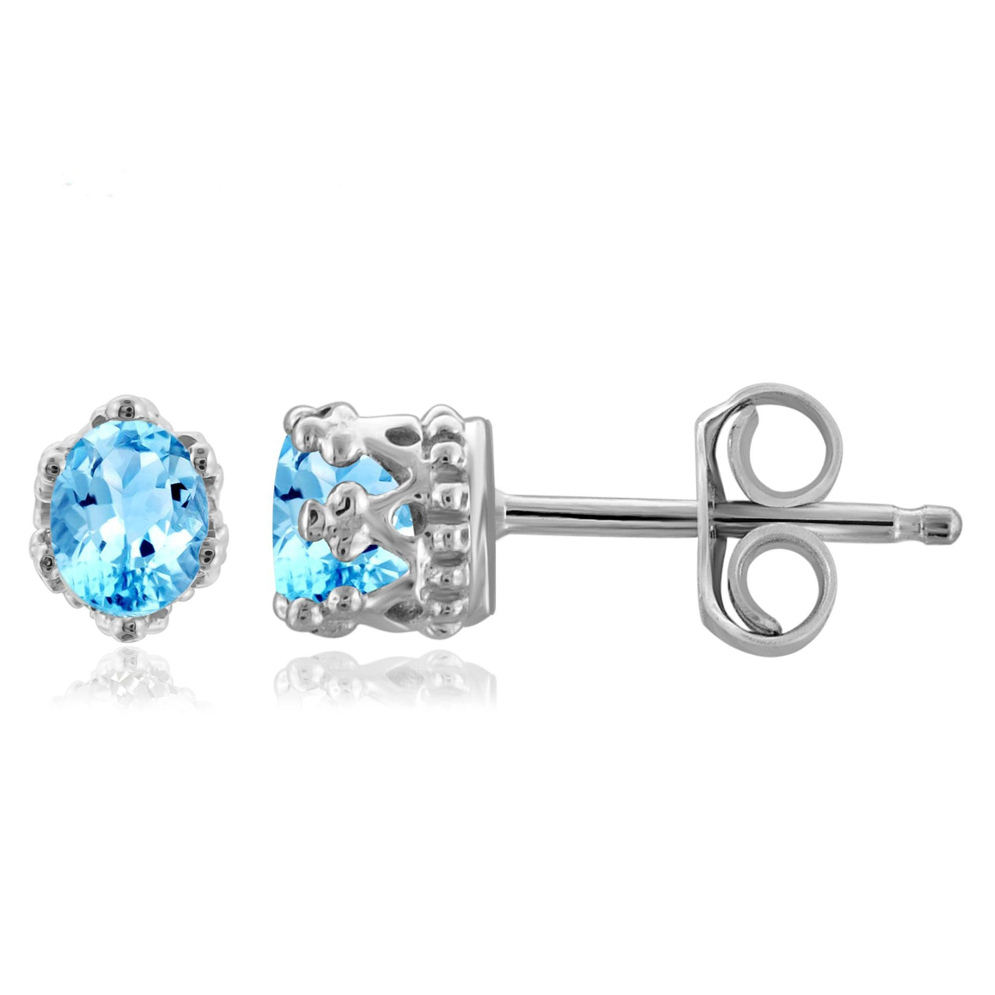 JewelonFire 1/3 Carat T.G.W. Blue Topaz Sterling Silver Crown Earrings - Assorted Colors