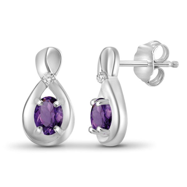 JewelonFire 1/2 Carat T.G.W. Amethyst and White Diamond Accent Sterling Silver Earrings - Assorted Colors