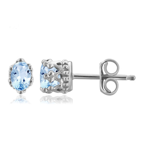 JewelonFire 1/2 Carat T.G.W. Sky Blue Topaz Sterling Silver Crown Earrings - Assorted Colors