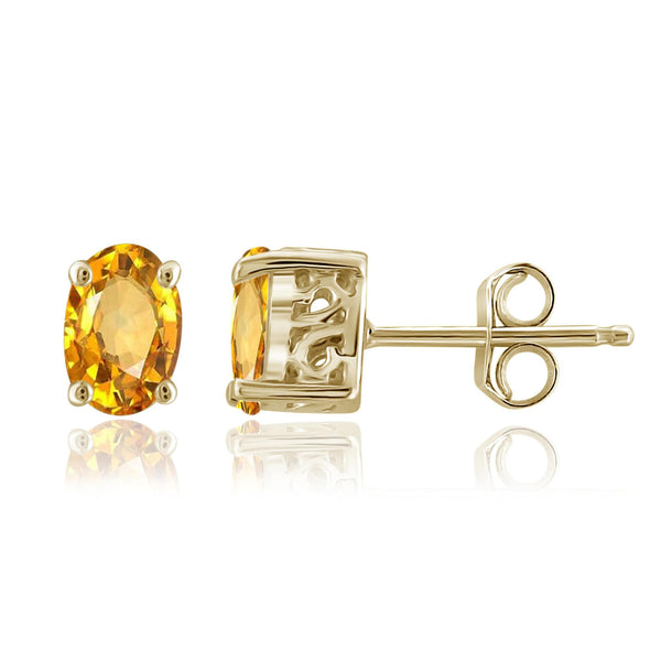 JewelonFire 1.00 Carat T.G.W. Citrine Sterling Silver Earrings - Assorted Colors