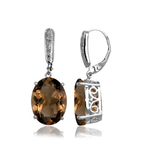 JewelersClub 17.00 Carat T.G.W. Smoky Quartz Sterling Silver Dangle Earrings - Assorted Colors