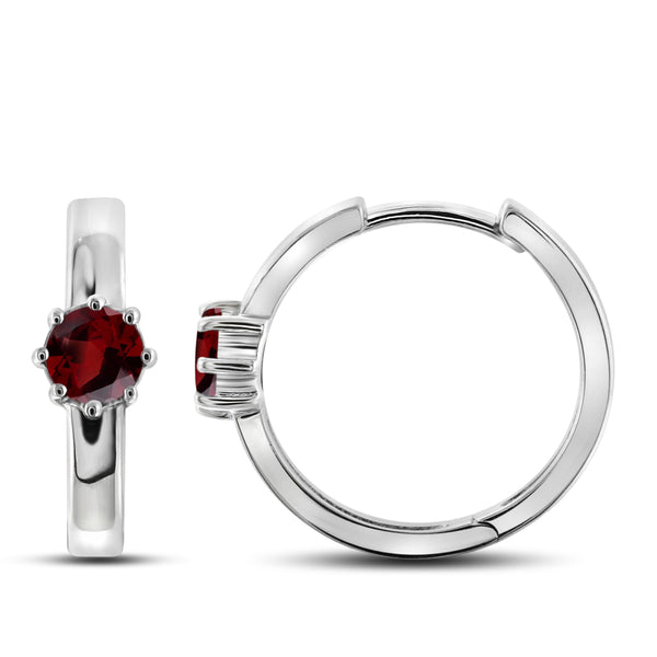 JewelonFire 1 1/5 Carat T.G.W. Garnet Sterling Silver Earrings - Assorted Colors