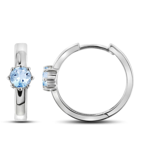 JewelersClub 1 1/5 Carat T.G.W. Sky Blue Topaz Sterling Silver Hoop Earrings - Assorted Colors