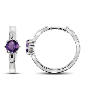 JewelonFire 3/4 Carat T.G.W. Amethyst Sterling Silver Hoop Earrings - Assorted Colors
