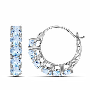JewelersClub 3 3/4 Carat T.G.W. Sky Blue Topaz Sterling Silver Hoop Earrings - Assorted Colors