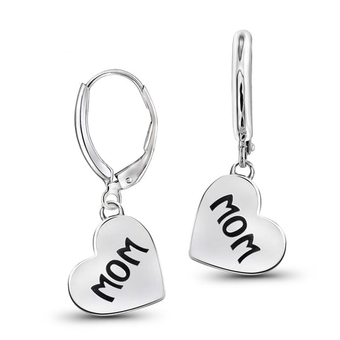 "JewelonFire Sterling Silver ""Mom"" Engraved Heart Earrings - Assorted Colors"