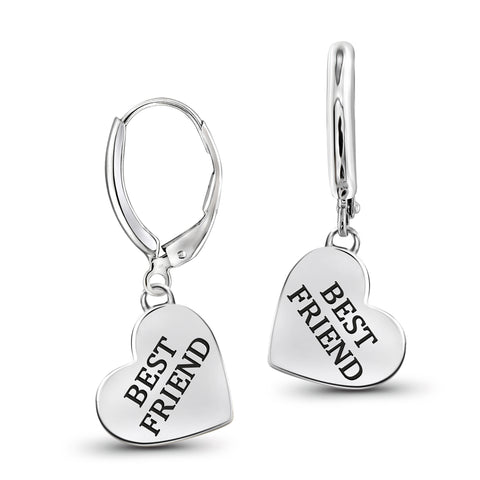 "JewelonFire Sterling Silver ""BEST FRIEND"" Engraved My Heart Earrings - Assorted Colors"