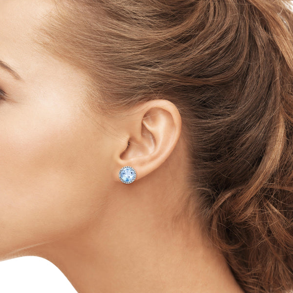 JewelonFire 2 1/2 Carat T.G.W. Sky Blue Topaz And White Diamond Accent Sterling Silver Earrings - Assorted Colors