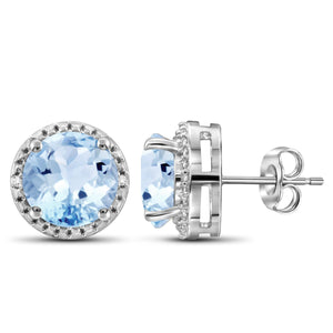 JewelersClub 2 1/2 Carat T.G.W. Sky Blue Topaz And White Diamond Accent Sterling Silver Earrings - Assorted Colors