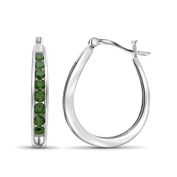 JewelonFire 1.00 Carat T.W. Green Diamond Sterling Silver Hoop Earrings