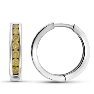 JewelonFire 1.00 Carat T.W. Yellow Diamond Sterling Silver Hoop Earrings
