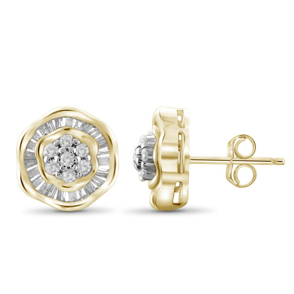 Jewelnova 1/2 Carat T.W. White Diamond Flower Earrings in 10K Gold - Assorted Colors
