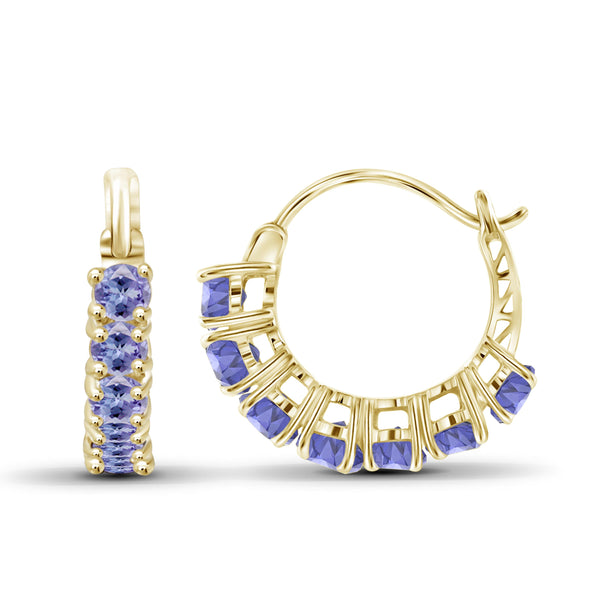 JewelonFire 1 1/2 Carat T.G.W. Tanzanite Sterling Silver Hoop Earrings - Assorted Colors
