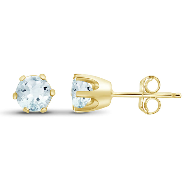 JewelonFire 3/4 Carat T.G.W. Aquamarine Sterling Silver Stud Earrings - Assorted Colors