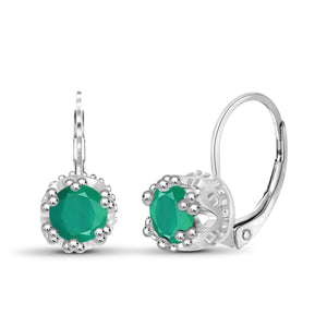 JewelonFire 1 Carat T.G.W. Emerald Sterling Silver Crown Earrings - Assorted Colors