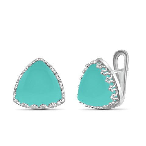 JewelonFire 27 1/2 Carat T.G.W. Chalcedony Sterling Silver Stud Earrings - Assorted Colors