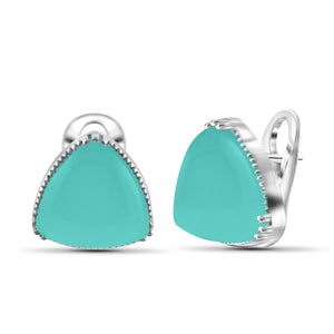 JewelonFire 17 1/2 Carat T.G.W. Chalcedony Sterling Silver Stud Earrings - Assorted Colors
