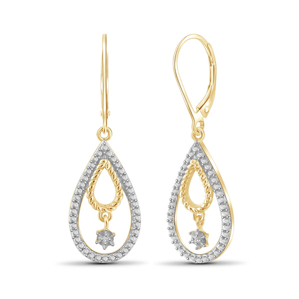 JewelonFire White Diamond Accent 14kt Gold Plated Brass Pear Dangle Earrings