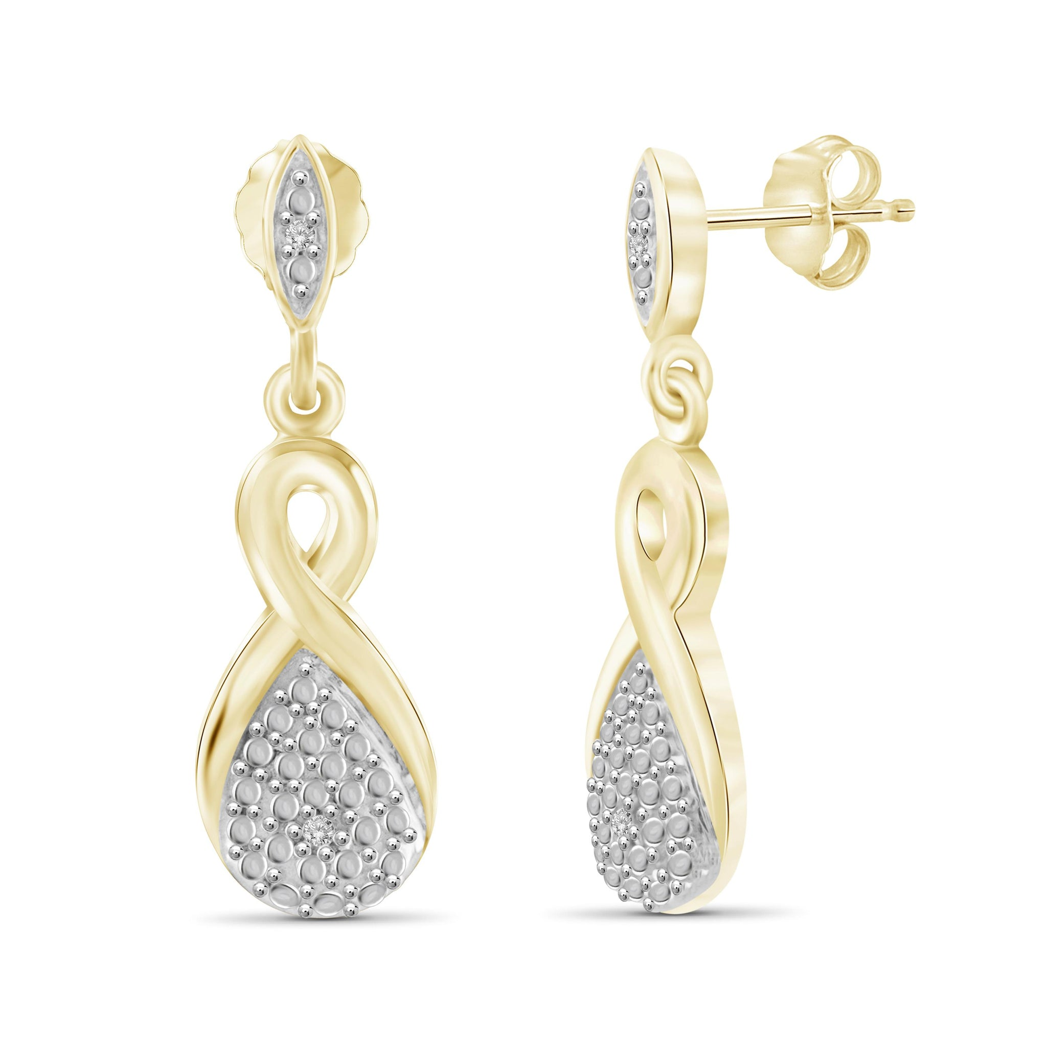 JewelonFire White Diamond Accent 14kt Gold Plated Brass Dangle Earrings