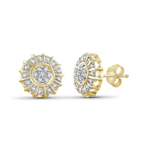 JewelonFire White Diamond Accent 14kt Gold Plated Brass Cluster Stud Earrings