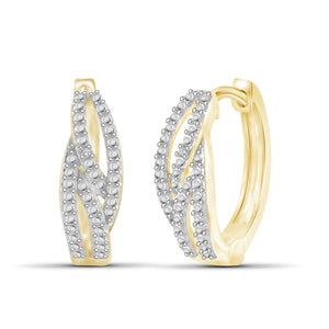 JewelonFire White Diamond Accent 14kt Gold Plated Brass Hoop Earrings