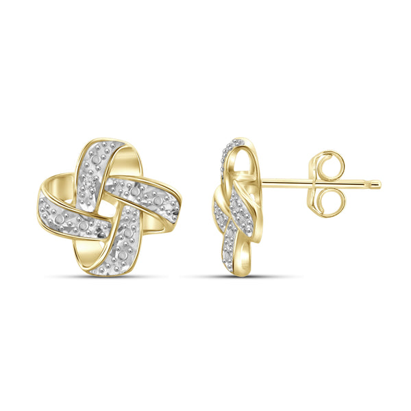 JewelonFire White Diamond Accent 14kt Gold Plated Brass Stud Earrings