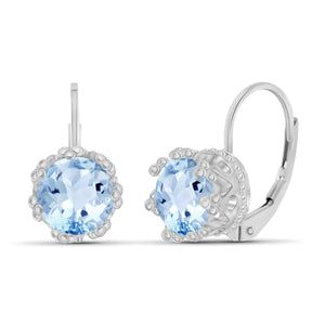 JewelersClub 3 1/5 Carat T.G.W. Sky Blue Topaz Sterling Silver Crown Earrings - Assorted Colors