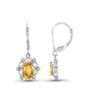 JewelonFire 1.00 Carat T.G.W. Citrine And White Diamond Accent Sterling Silver Dangle Earrings - Assorted Colors
