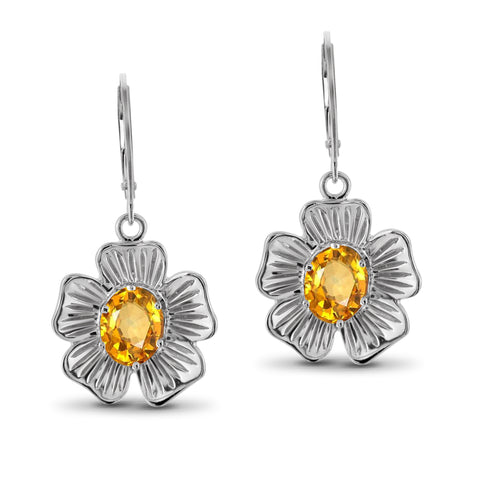 JewelonFire 2 1/4 Carat T.G.W. Citrine Sterling Silver Flower Earrings - Assorted Colors