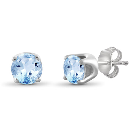 JewelonFire 1.20 Carat T.G.W. Sky Blue Topaz Sterling Silver Stud Earrings - Assorted Colors