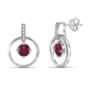 JewelonFire 1.35 Carat T.G.W. Ruby And 1/20 Carat T.W. White Diamond Sterling Silver Earrings - Assorted Colors