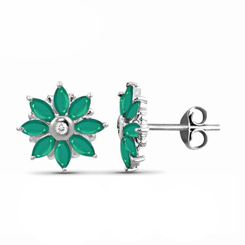 JewelonFire 1.25 Carat T.G.W. Genuine Emerald And Accent White Diamond Sterling Silver Stud Earrings - Assorted Colors