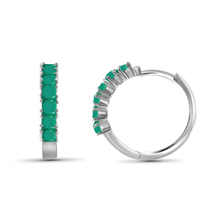 JewelonFire 1.80 Carat T.G.W. Genuine Emerald Sterling Silver Hoop Earrings - Assorted Colors