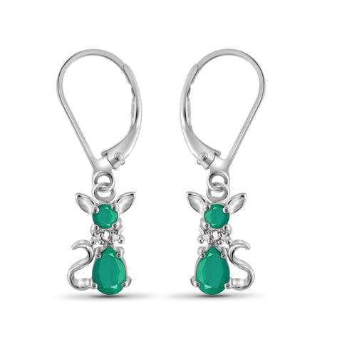 JewelonFire 1.50 Carat T.G.W. Genuine Emerald And Accent White Diamond Sterling Silver Dangle Earrings - Assorted Colors