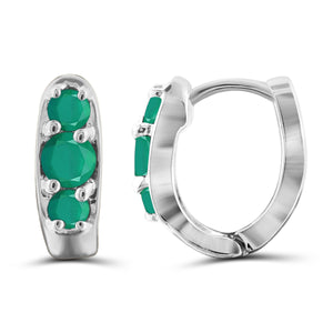 JewelonFire 0.95 Carat T.G.W. Genuine Emerald Sterling Silver Hoop Earrings - Assorted Colors