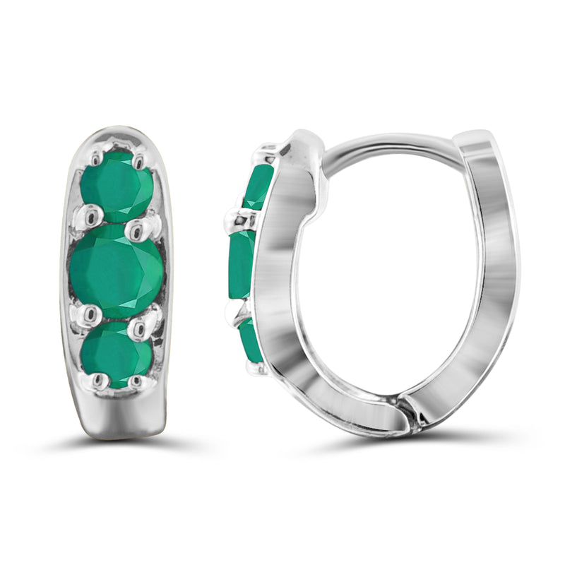 JewelersClub 0.95 Carat T.G.W. Genuine Emerald Sterling Silver Hoop Earrings - Assorted Colors