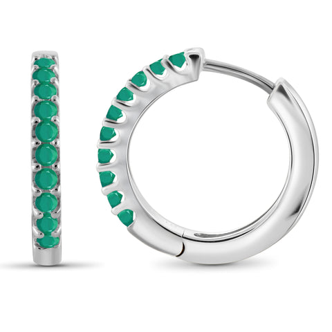 JewelonFire 1.20 Carat T.G.W. Genuine Emerald Sterling Silver Hoop Earrings - Assorted Colors