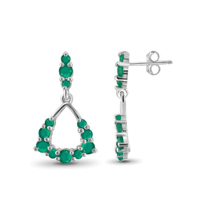 JewelonFire 1.85 Carat T.G.W. Genuine Emerald Sterling Silver Dangle Earrings - Assorted Colors