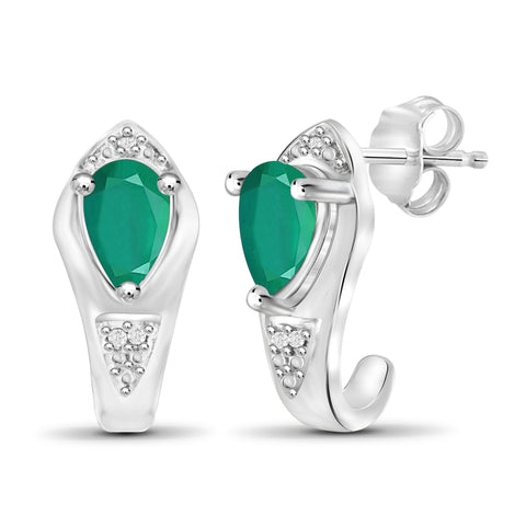 JewelonFire 1.20 Carat T.G.W. Emerald And Accent White Diamond Sterling Silver J Hoop Earrings - Assorted Colors