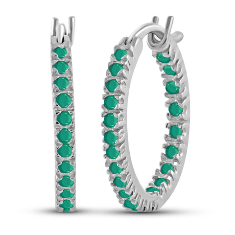 JewelonFire 2.50 Carat T.G.W. Genuine Emerald Sterling Silver Hoop Earrings - Assorted Colors