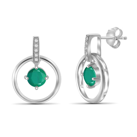 JewelonFire 0.95 Carat T.G.W. Emerald And 1/20 Carat T.W. White Diamond Sterling Silver Stud Earrings - Assorted Colors