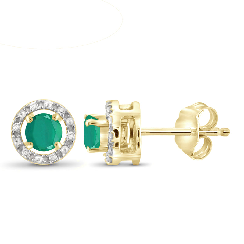 JewelersClub 0.50 Carat T.G.W. Emerald And 1/20 Carat T.W. White Diamond Sterling Silver Halo Stud Earrings - Assorted Colors