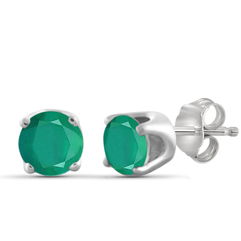 JewelonFire 2.50 Carat T.G.W. Genuine Emerald Sterling Silver Stud Earrings - Assorted Colors