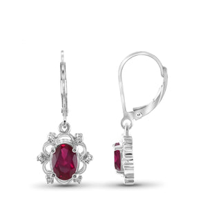 JewelonFire 3.85 Carat T.G.W. Ruby And Accent White Diamond Sterling Silver Dangle Earrings - Assorted Colors