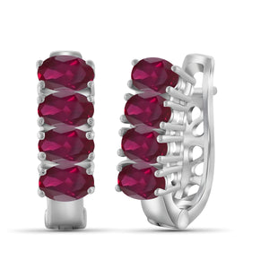 JewelonFire 3.85 Carat T.G.W. Genuine Ruby Sterling Silver Hoop Earrings - Assorted Colors