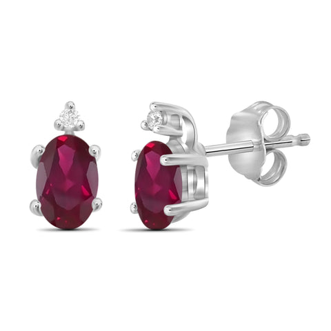 JewelonFire 0.95 Carat T.G.W. Ruby And Accent White Diamond Sterling Silver Stud Earrings - Assorted Colors