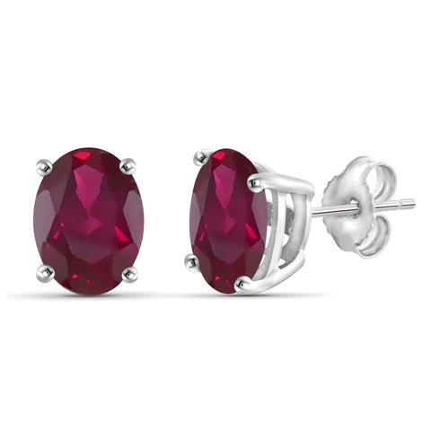 JewelonFire 3.85 Carat T.G.W. Genuine Ruby Sterling Silver Stud Earrings - Assorted Colors